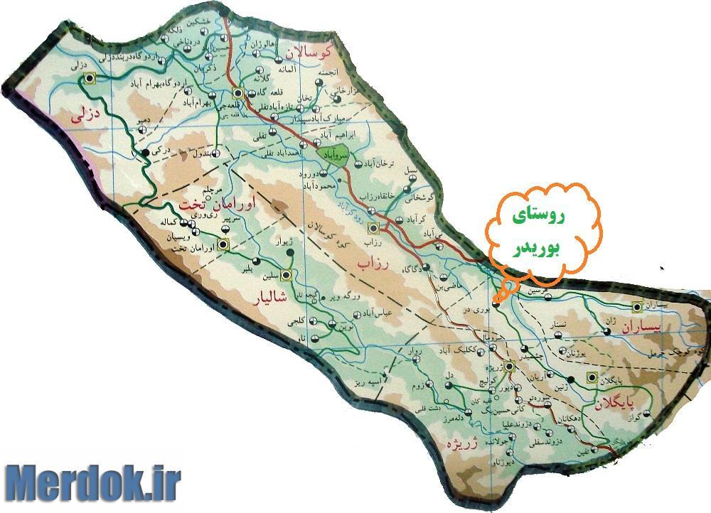موقعیت روستای بوریدر بر روی نقشه