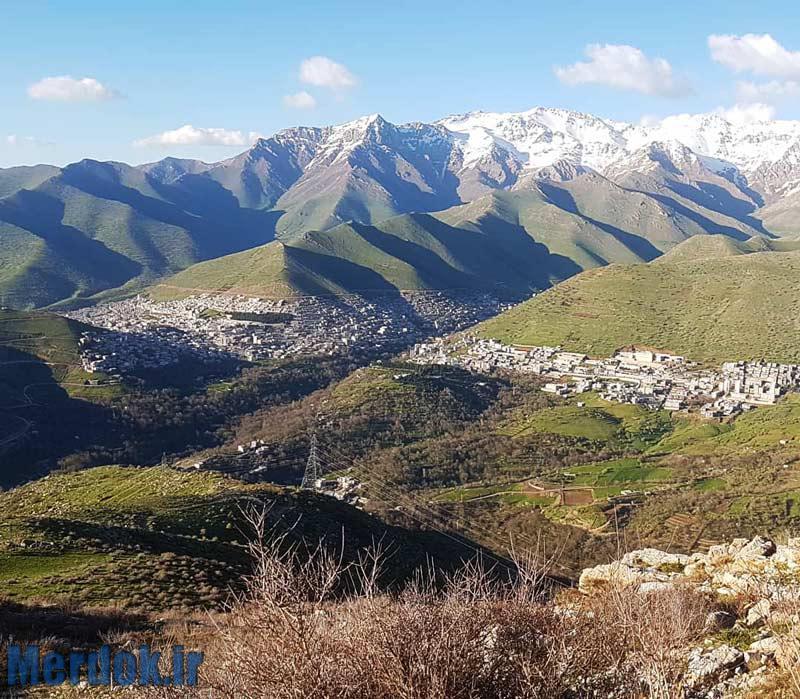 نمایی از شهر پاوه و کوه شاهو - عکس از فارز مرادی