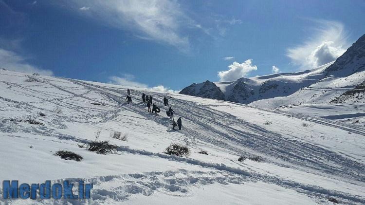 بارش برف در ارتفاعات هورامان سروآباد زمستان ۱۳۹۴